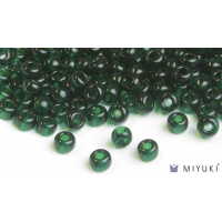 Miyuki 6/0 Glass Beads 156 - Transparent Deep Emerald approx. 30 grams