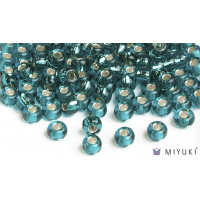 Miyuki 6/0 Glass Beads 2425 - Silverlined Teal approx. 30 grams