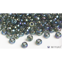 Miyuki 8/0 Glass Beads 249 - Transparent Grey AB approx. 30 grams