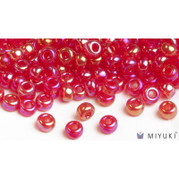 Miyuki 8/0 Glass Beads 254 - Transparent Red AB approx. 30 grams