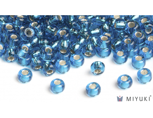 Miyuki 8/0 Glass Beads 25 - Silverlined Capri Blue approx. 30 grams
