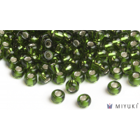 Miyuki 8/0 Glass Beads 26 - Silverlined Moss Green approx. 30 grams
