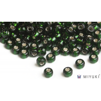 Miyuki 8/0 Glass Beads 27 - Silverlined Deep Emerald approx. 30 grams