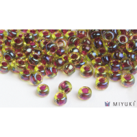 Miyuki 6/0 Glass Beads 336 - Cranberry-lined Peridot AB approx. 30 grams