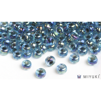 Miyuki 6/0 Glass Beads 339 - Blue-lined Aqua AB approx. 30 grams